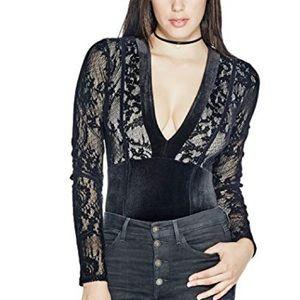 Lace velour body suit